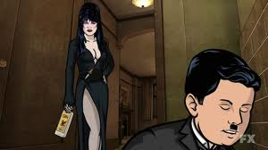 Archer as Charlie Chaplin and Mallory as Elvira