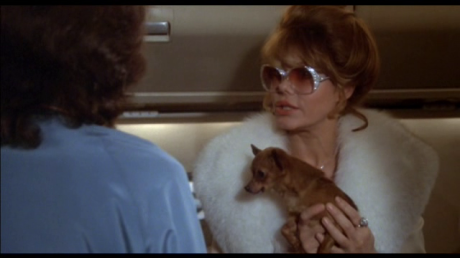 Charo in sunglasses with chihuahua arguing with flight attendant in The Concorde: Airport '79