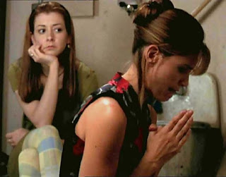 Willow comes the closet we've seen to snapping yet, and who wouldn't, trapped in the janitor's closet with Cordy praying?
