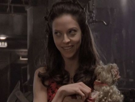 Drusilla in good spirits with her floral party arrangement, just before her complete flower-shredding breakdown.