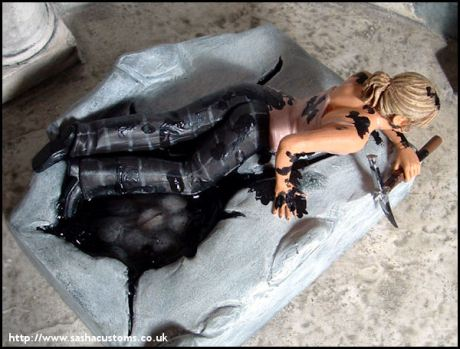 Sacha's sculpture of Buffy crawling out of the boiler room pit covered in Beozar's sludgy bodily fluids. This may be the messiest slaying has ever gotten.