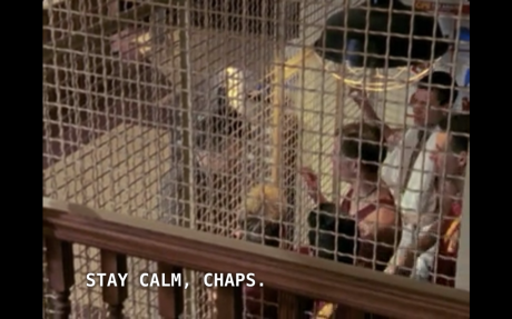 Giles leads the lads into the library cage.