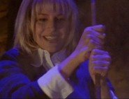 Our first vampire-on-vampire violence: Darla stakes The Three in the episode titled Angel.