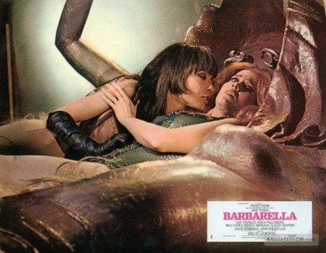 Anita Pallenberg and Jane Fonda in Barbarella. These two are more compelling female figures to me than anyone in MM.